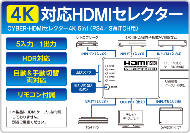 4K対応HDMIセレクター CYBER・HDMIセレクター4K 5in1(PS4/SWITCH用)